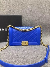 AUTHENTIC CHANEL ROYAL BLUE QUILTED VELVET MEDIUM BOY FLAP BAG SHW image 3