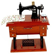 Vintage Mini Sewing Machine Style Plastic Music Box Table Desk Decoratio... - $12.98