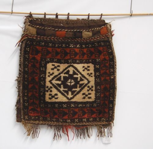Hand Woven Wool Belouch Afghan Saddle Bags Wall Decoration 18 by 42 Inches