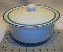 Vintage Pfaltzgraff  3 Quart Ocean Breeze Casserole Dish Blue-Turquoise Stripe - $39.99
