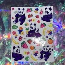 VINTAGE Lisa Frank Sticker Quadrant 1/4 Of Full Sheet LING LING PANDA w FRUITS image 2