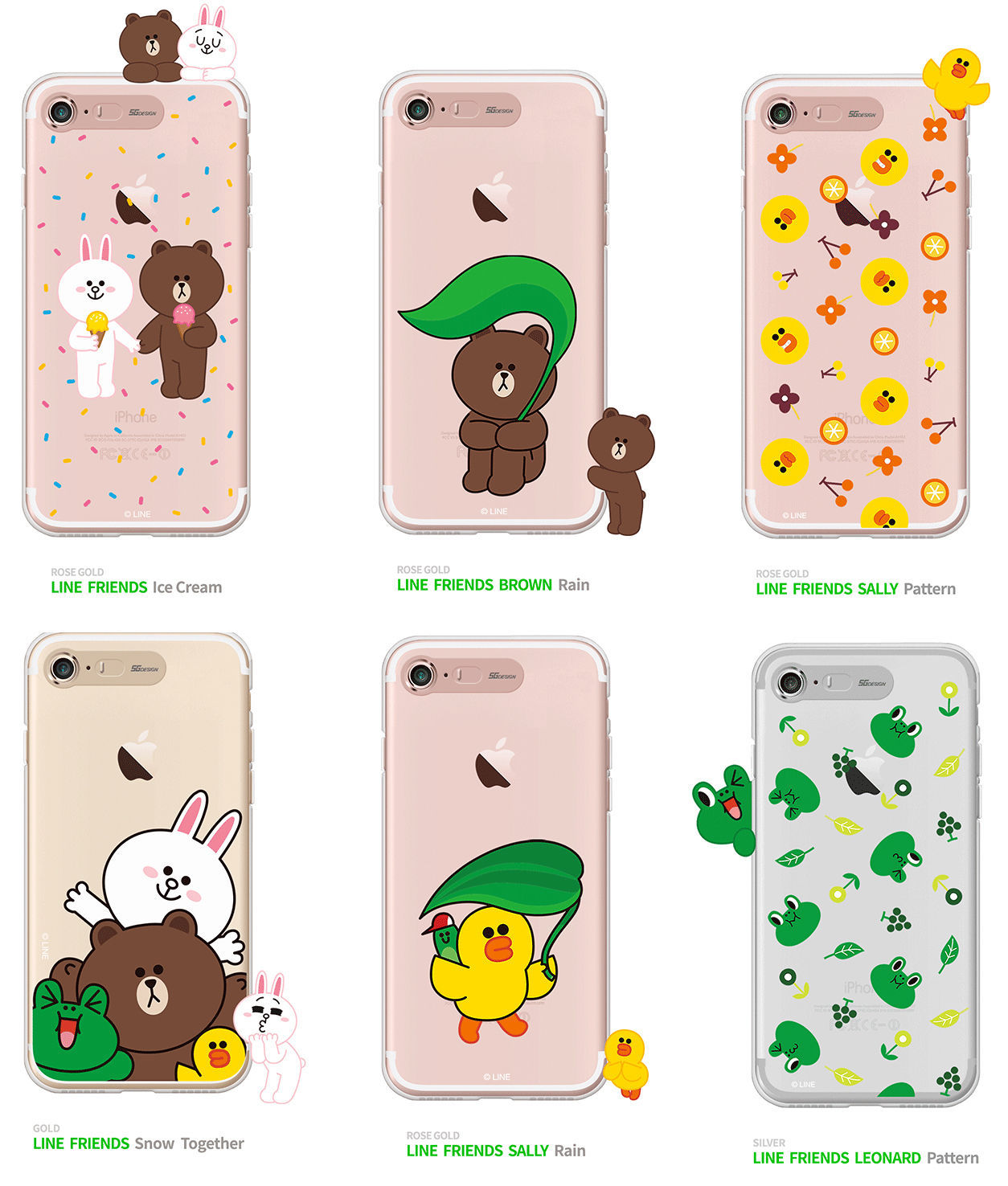 LINE Friends Light UP Clear Case V.3 iPhone 7/7 Plus Soft Cover Mobile Skin Acc