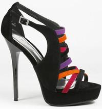 Black Red Faux Suede Strappy Colorblock High Heel Platform Sandal Anne Michelle - $9.99