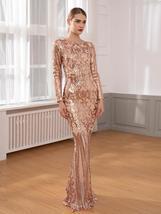 Elegant Long Sleeve Stretch Black Sequined Evening Party Dress Floor Length Blac image 3