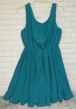 Epilogue Green Teal Medium Pleated Fit Flare Polyester Lined Sleeveless ... - $12.53