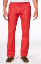 New Mens Tommy Hilfiger Custom Fit Dot Pattern Bleached Red Cotton Pants 34 X 30 - $27.99