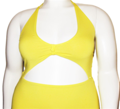 Vicious Young Babes (VYB) Bright Yellow One Piece Swimsuit Size XL image 2