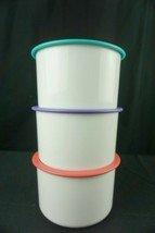 Tupperware One Touch Canister B  2708A-2 Set of 3 Teal Purple Coral NOS - $45.95