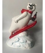 "Vintage Coca Cola Polar Bear 7.5"" Porcealin Coin Bank 176389 Skiing 1995 - $18.00"