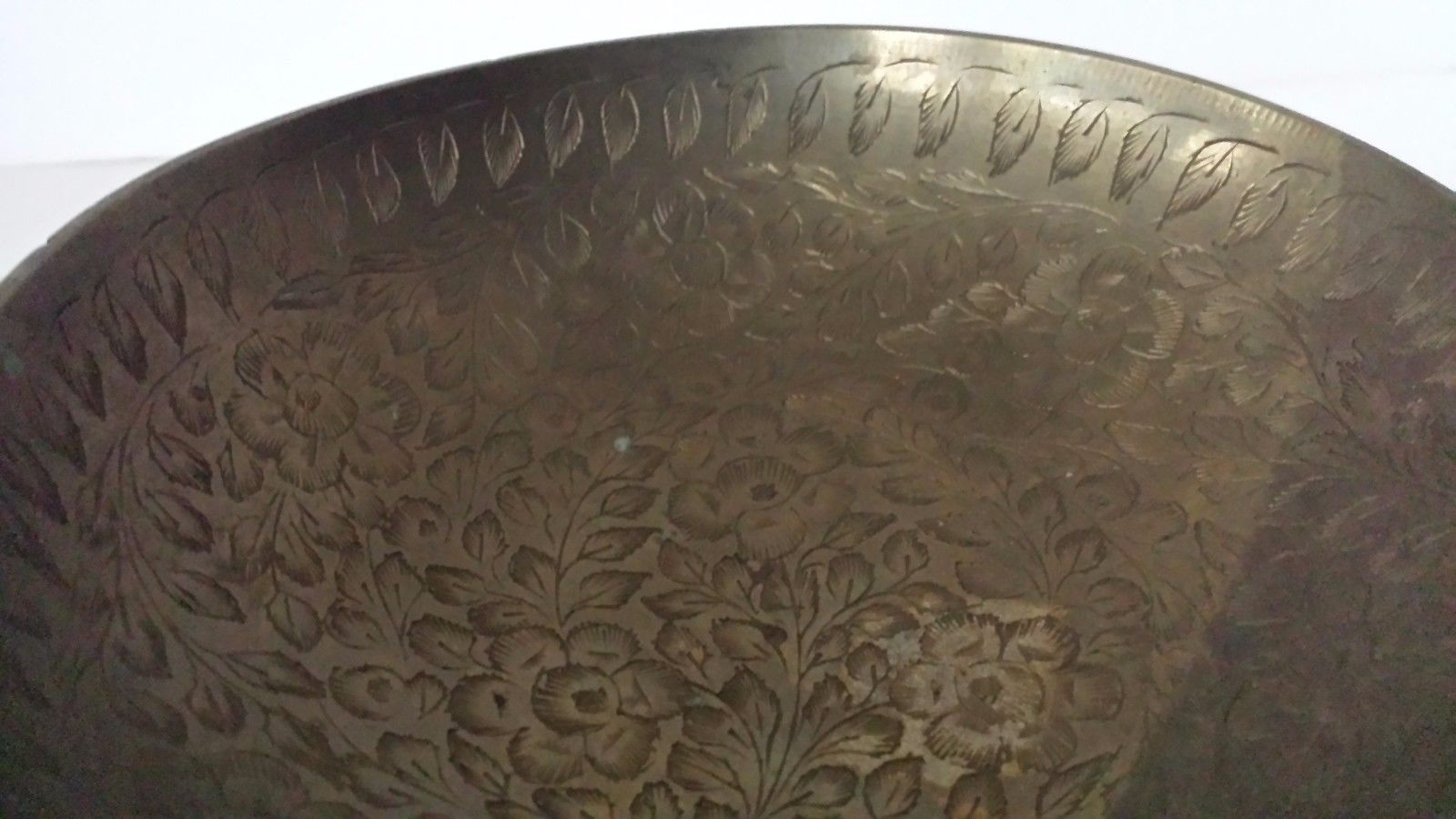 """Floral Etched Brass Compote 4 3/4"""" T 6 1/2""""D"""