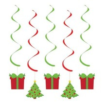 Christmas Presents Trees 5 ct Party Dizzy Danglers Hanging Decorations - $4.39