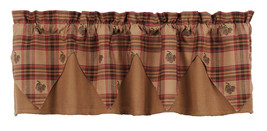 country rustic farmhouse cabin Pine Cone red brown green plaid Pointed VALANCE - $36.95