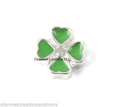 Green 4 Leaf Clover Lucky Shamrock Floating Charm For Glass Memory Lockets - $2.96