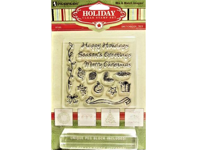 Inkadinkado Clear Holiday Sketchbook Tree Stamp Set with Stamp Block #97191