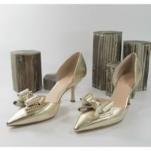 Kate Spade Sterling Gold Leather Studded Bow Kitten Heels 6 NIB - $133.16
