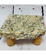 Granite Cheese Tray Board Tan Black Gray Brown Cork Legs CT1006 - $45.00