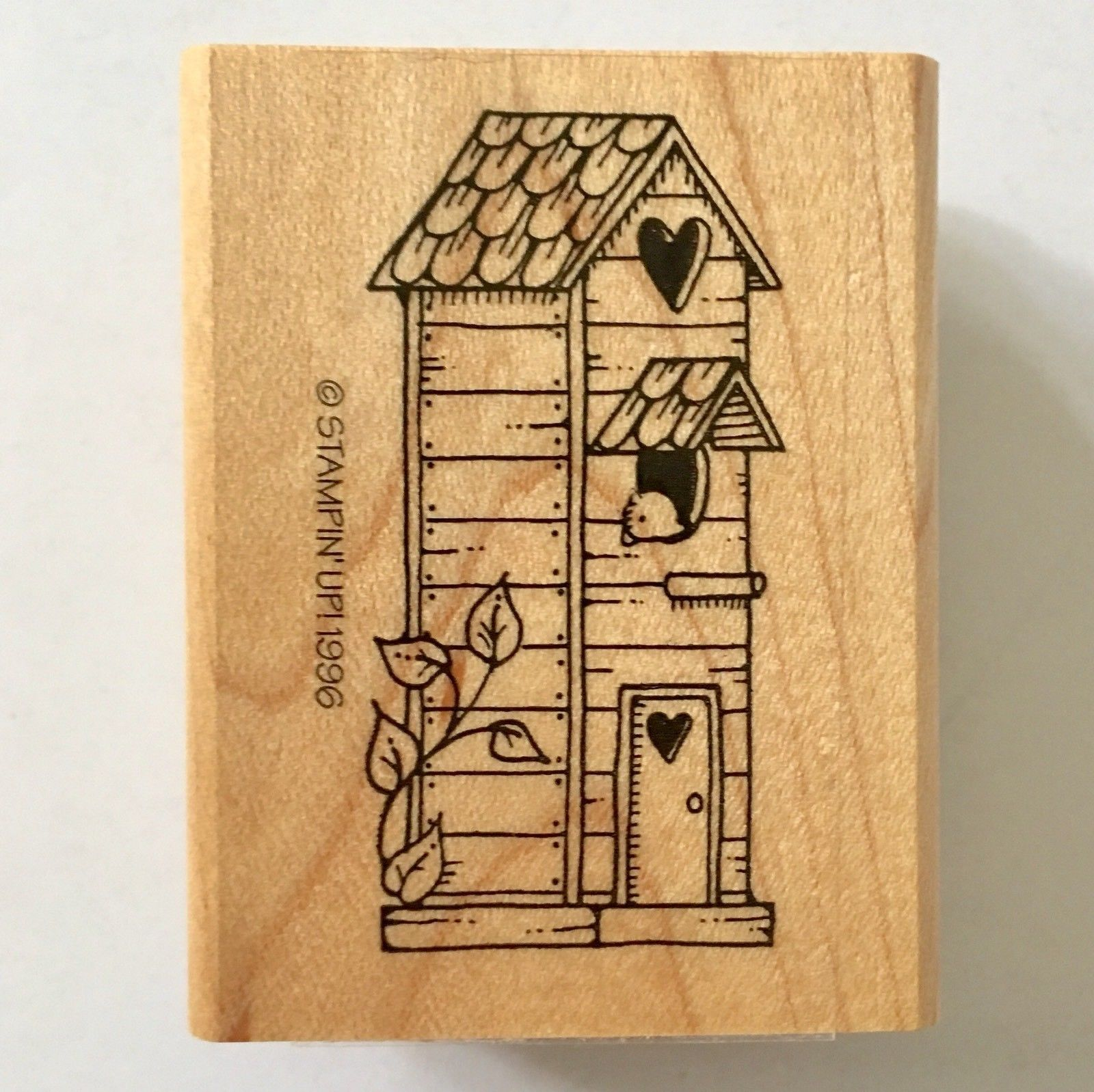 Birdhouse Rubber Stamp Stampin Up Bird Heart Tall House Wood Mounted Craft 1996