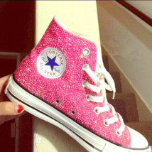 Pink Sparkle High Top Sneaker Shoes Girls Shoes Prom Bride Shoes Handmade bling - $175.00