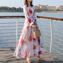 Long Sleeve Plus Size Floral Chiffon Dress Lady Maxi Long Chiffon Flower Dress   image 3