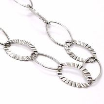 925 Silver Necklace, Agate Blue Striated Oval Large, White Agate, 90 cm long image 5