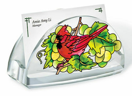 Grapevine Cardinal Business Card Holder Acrylic New Grapes Red Bird - $16.48