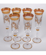 6 RARE CZECHOSLOVAKIA MADE ENCRUSTED CHAMPAGNE FLUTE STEM GLASSES -GLASS... - $199.00