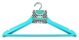 6 pack Maple Wood Coat and Suit Hangers with Lingerie Notch Aqua Blue Sm... - $14.84