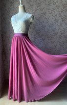 2021 Floor Length Chiffon Skirt High Waist Wedding Skirt Outfit Plum Plus Size  image 2