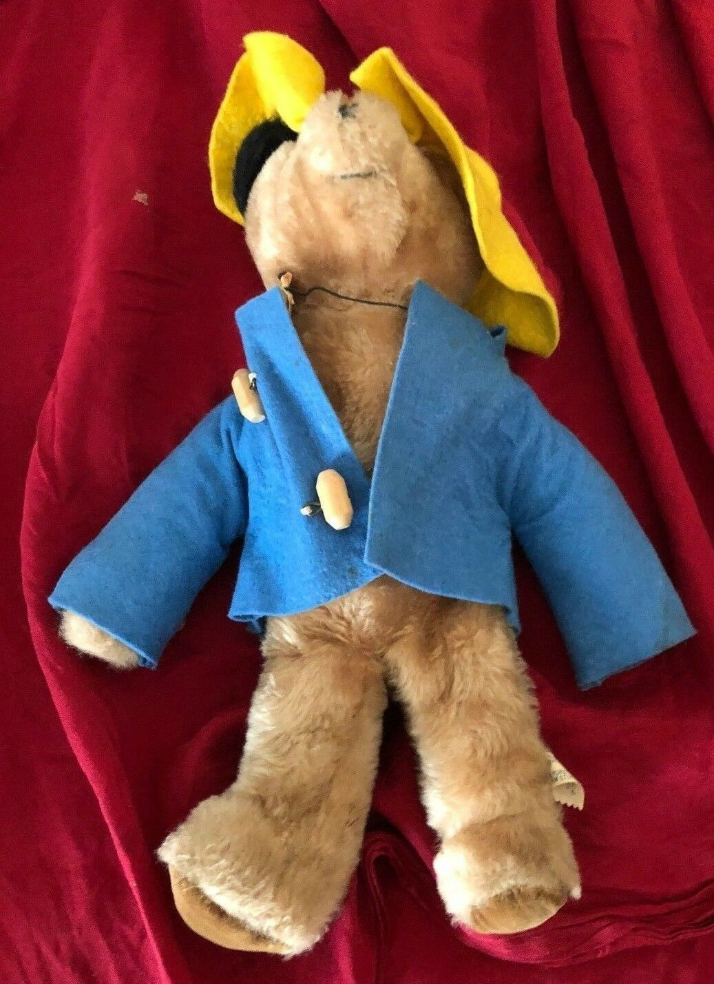 "Vintage  Eden Paddington Bear Stuffed Animal Blue Coat Yellow Hat 14"" CUTE! - $15.83"