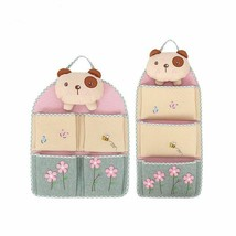 Cartoon Linen Hanging Bag Cotton Pockets Cute Storage Home Organizer Doo... - £19.07 GBP+