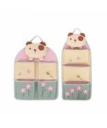 Cartoon Linen Hanging Bag Cotton Pockets Cute Storage Home Organizer Doo... - $26.04+