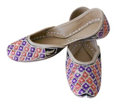 Women Shoes Multi Color Jutti Indian Handmade Leather Mojari Flat US 6  - $24.99