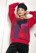 Knit jumper - 90s vintage crazy pattern sweater - $40.11