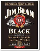 Jim Beam Black Label Kentucky Straight Bourbon Whiskey Alcohol Metal Sign - $20.95
