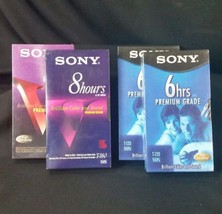 Lot of 4 Sony Sealed VHS Cassettes 2 T-160 8hrs and 2 T-120 6hrs premium tapes - $32.50