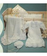 RARE~FAN & FEATHER CHRISTENING LAYETTE KNITTING PATTERN  - $3.99