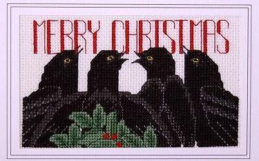 Days of Christmas Fourth Day holiday cross stitch card chart Linda Jeanne Jenkin