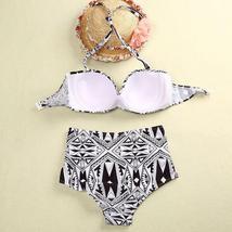 Womens Ethnic High Waist Push Up Bikini Set Halterneck Swimwear Bathing Swimsuit image 9