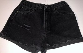 Gap Black Black Distressed Denim Jean Cut-off Raw Hem Shorts 29 High Wai... - $9.89