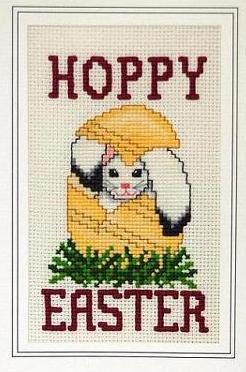 Hoppy Easter holiday cross stitch card chart Linda Jeanne Jenkins