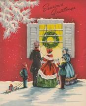 Vintage Christmas Card Carolers Sled Die Cut Window 1940s Nostalgia - $9.89