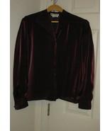 Women Blouse Top Shirt  Burgundy Long Sleeve Size 6 Petite Joan Leslie - $14.99