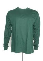 Hanes Crewneck Long Sleeve T-Shirt Men L Large 100% Cotton Dark Green - $19.59