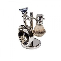NEW 4-Piece Silver Plated Mens Shaving Set - St... - $53.89