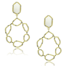 Women's Brass Gold & Brush Synthetic White Dangle & Drop Earrings - $13.40