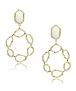 Women's Brass Gold & Brush Synthetic White Dangle & Drop Earrings - $13.40