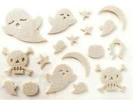 Foam Glittered White Ghost, Skulls & Star Stickers, Perfect for Halloween!