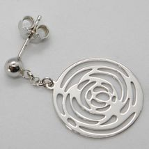 Drop earrings 750 18k White Gold Gloss and Pierced with Roses Made in Italy image 3