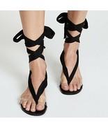 FREE PEOPLE Barcelona Black Ankle Tie Sandals Clear Strap BoHo 38 7.5 US - $38.51