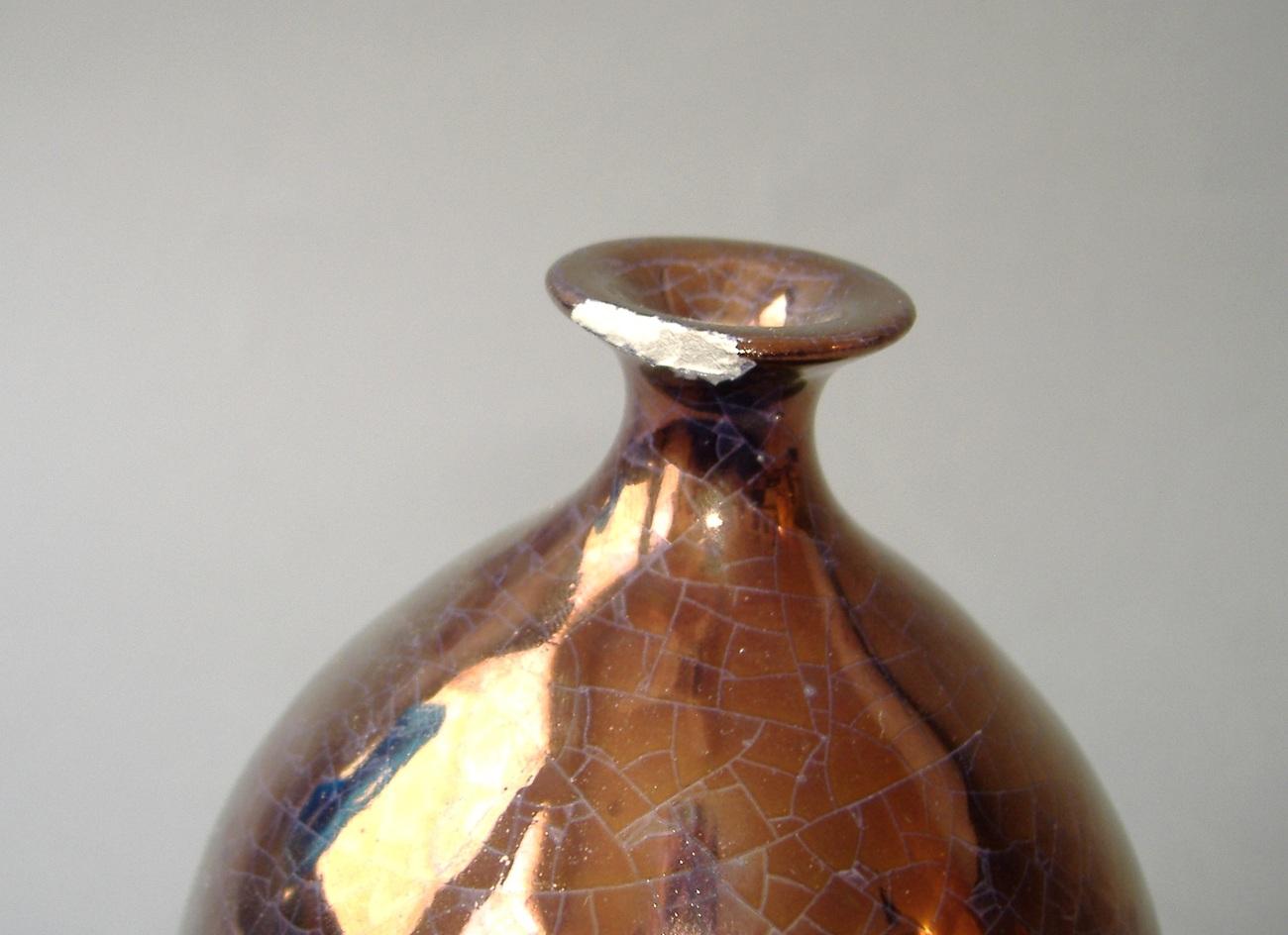 Copper Crackle Ceramic Porcelain Art Pottery Round Vase Handcrafted Decor Second